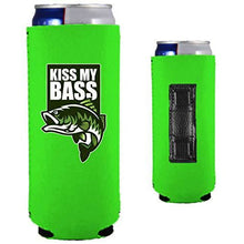 "Load image into Gallery viewer, neon green magnetic slim can koozie with ""kiss my bass"" text and bass fish graphic"
