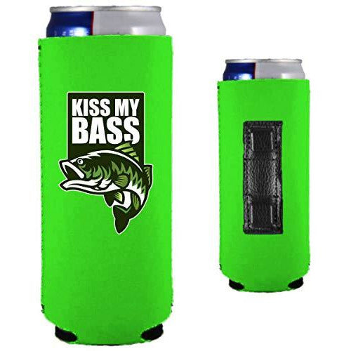 neon green magnetic slim can koozie with