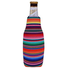Load image into Gallery viewer, beer bottle koozie with serape stripes all over print design
