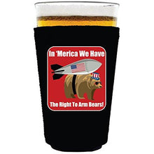 Load image into Gallery viewer, pint glass koozie with right to bear arms design