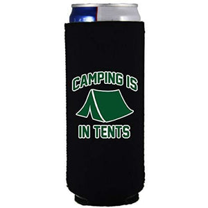 slim can koozie with camping is intense design