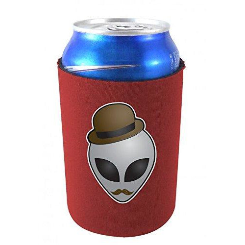 burgundy can koozie with funny alien head wearing a hat and mustache design