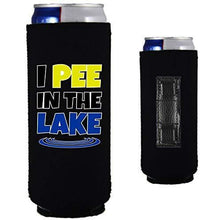 "Load image into Gallery viewer, black magnetic slim can koozie with ""I pee in the lake"" funny text design"