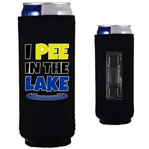 "black magnetic slim can koozie with ""I pee in the lake"" funny text design"