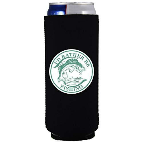slim can koozie with id rather be fishing design