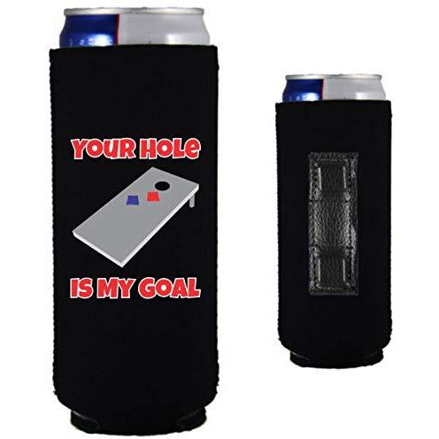 black magnetic slim can koozie with funny