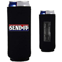 "Load image into Gallery viewer, Black magnetic slim can koozie with ""send it"" text with red white and blue background design"