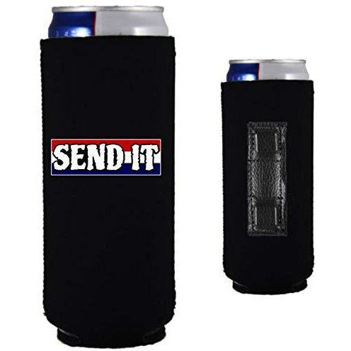 "Black magnetic slim can koozie with ""send it"" text with red white and blue background design"