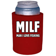 Load image into Gallery viewer, red old school thick foam koozie with milf man i love fishing design