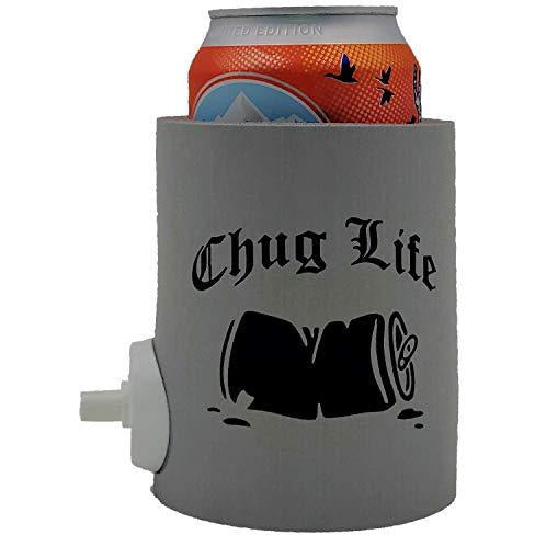 party starter device for shotgunning beer thick foam can koozie in gray with funny chug life design and crushed beer can graphic