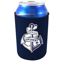 Load image into Gallery viewer, navy blue can koozie with captain awesome anchor design and text