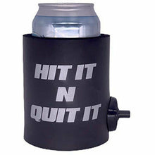 "Load image into Gallery viewer, black thick foam can koozie with shotgun beer device and ""hit it n quit it"" text design in silver"