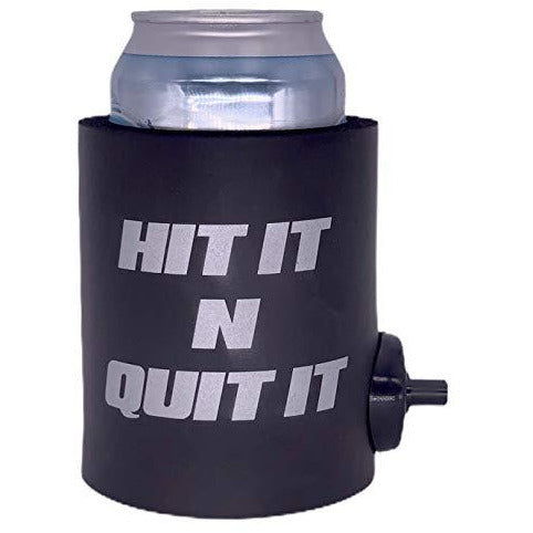 black thick foam can koozie with shotgun beer device and