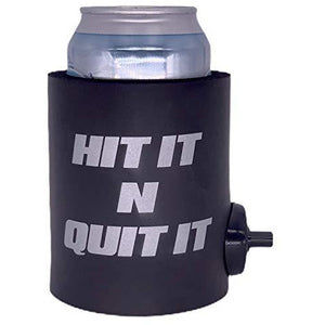 "black thick foam can koozie with shotgun beer device and ""hit it n quit it"" text design in silver"