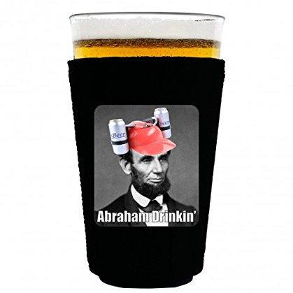 pint glass koozie with abraham drinking design