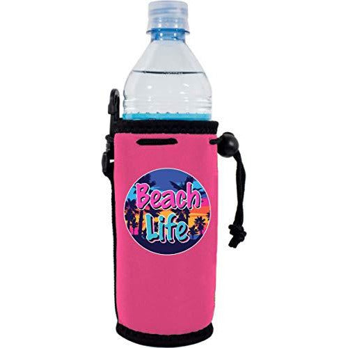 Hot pink water bottle koozie with beach life design