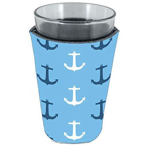 pint glass koozie with anchor pattern design
