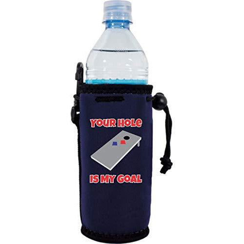 navy blue water bottle koozie with funny