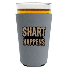 Load image into Gallery viewer, pint glass koozie with shart happens design