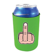 Load image into Gallery viewer, neon green can koozie with middle finger illustration design