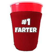 Load image into Gallery viewer, party cup koozie with number one farter design