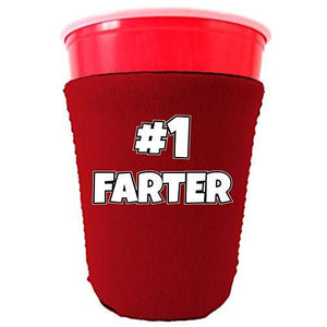 party cup koozie with number one farter design