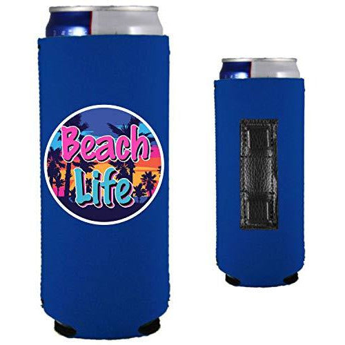 royal blue magnetic slim can koozie with beach life design