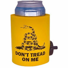 "Load image into Gallery viewer, yellow shotgun can koozie with ""don't tread on me"" text, snake graphic (gadsden flag) design"