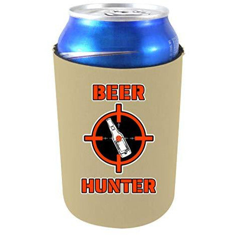 khaki can koozie with beer hunter text and target with beer bottle funny design