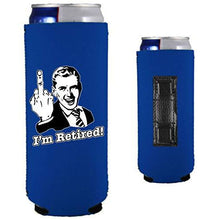 Load image into Gallery viewer, royal blue magnetic slim can koozie with funny i'm retired middle finger design