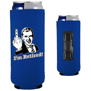 royal blue magnetic slim can koozie with funny i'm retired middle finger design