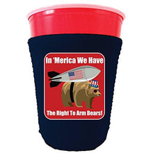 Load image into Gallery viewer, navy party cup koozie with in merica we have the right to arm bears design