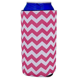 Chevron Stripe Pink 16 oz Can Coolie
