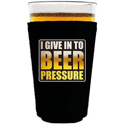 pint glass koozie with beer pressure design