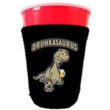 Load image into Gallery viewer, black party cup koozie with drunkasaurus design