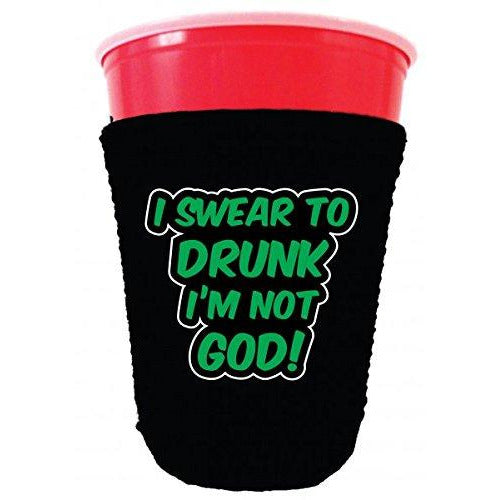 black party cup koozie with i swear to drunk im not god design