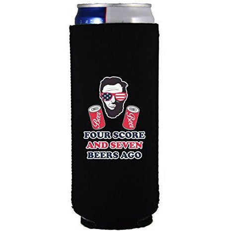 slim can koozie with four scores and seven beers ago design