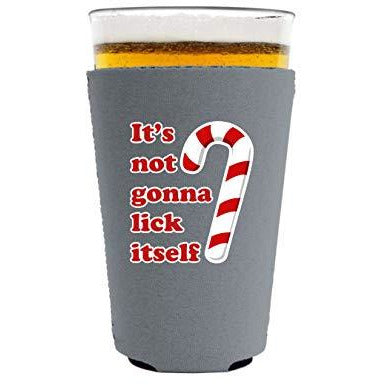 pint glass koozie with its not gonna lick itself design