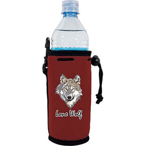 "burgundy water bottle koozie with funny ""lone wolf"" text and wolf face graphic design"