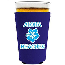 Load image into Gallery viewer, pint glass koozie with aloha beaches design