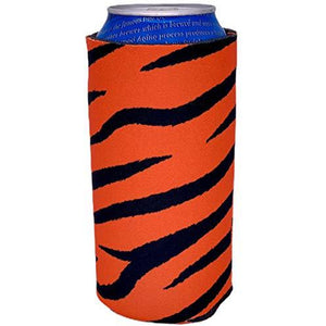 16 oz can koozie with tiger stripes all over design