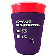 Load image into Gallery viewer, purple party cup koozie with have you been drinking design