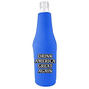 Drink America Great Again Zipper Beer Bottle Coolie With Opener