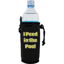 "Load image into Gallery viewer, black water bottle koozie with ""i peed in the pool"" funny text design"