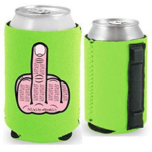 Load image into Gallery viewer, neon green magnetic can koozie with middle finger funny design
