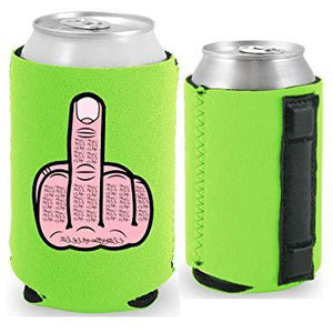 neon green magnetic can koozie with middle finger funny design