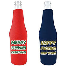 "Load image into Gallery viewer, beer bottle koozies with ""merry fucking christmas"" and ""happy fucking new year"" funny text designs"