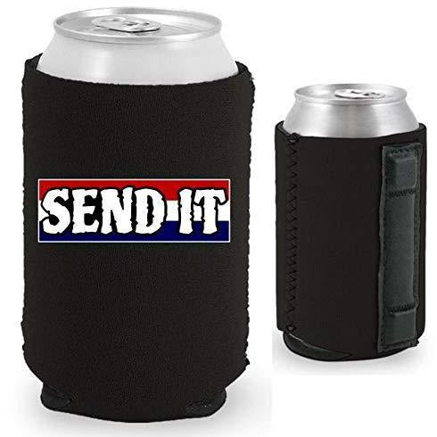 "Black magnetic can koozie with ""send it"" text with red white and blue background design"
