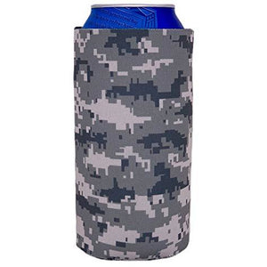 16 oz can koozie with digital camo all over print design