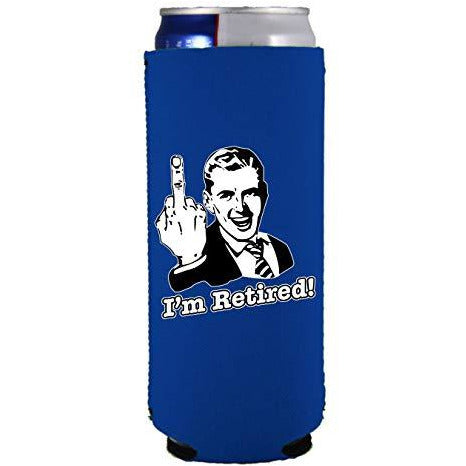 slim can koozie with im retired design